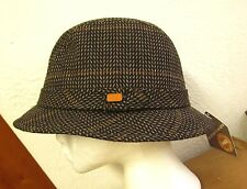 TOTES med bucket cap vtg size 7 geometric Ohio rainproof hat 1970s wool NWT