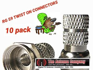 F Connector Screw on type for RG 59 TV Antenna Coax Cable Twist-on 10 pieces dtv