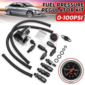 Adjustable Fuel Pressure Regulator AN6 0-100 PSI Gauge Oil Hose End Fitting Kit