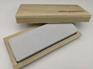 "Arkansas Knife Sharpening 6"" Whetstone Hard Sharpener + Wood Storage Box - USA"