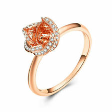 Round Natural Diamond Semi Mount Engagement Ring 10k Rose Gold