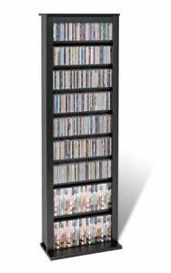 """Prepac 64"""" Single Barrister Wall Media Storage Rack in Oak and Black"""