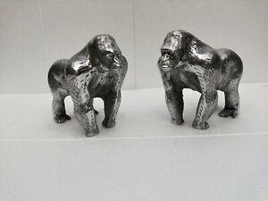 Gorilla Bookend Pair Aluminium Figurine statue Sculpture f
