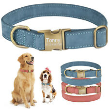 Personalised Leather Dog Collar Free Engraved Name Number Metal Buckle Tag S M L