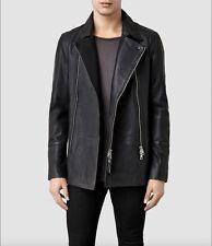 RRP£498 ALLSAINTS Adelaid Pea Coat Leather Biker Jacket Size S (BRAND NEW)
