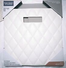 """2-PACK WHITE Faux Leather Collapsible Cube Storage Bin (12.75""""x12.75""""), RARE"""