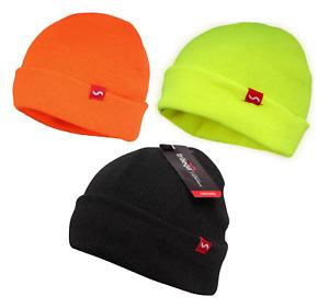 Traega HAT-AC Hi Vis Visibility Black Beanie Style Hat Cold Winter Warm