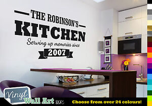 PERSONALISED Kitchen Serving Up Memories Since - Vinyl Wall Art Sticker Decal