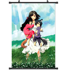 Anime Ookami Kodomo no Ame to Yuki Wolf Children wall Poster Scroll 3311