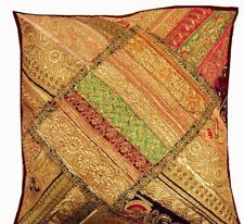 "24"" PLUM VINTAGE STUNNING ART BEADED PEARL SARI DÉCOR THROW CUSHION PILLOW COVER"