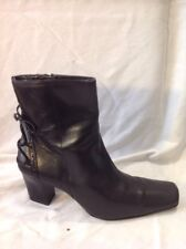Dolcis Black Ankle Leather Boots Size 39