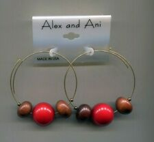 wood beads earrings Alex & Ani red