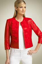 $1395 NWT SoCa St John Organga  Lamb Leather Ruffle  Coral Red Jacket Large