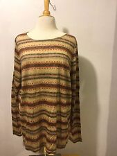 Ralph Lauren Plus Size 2X Striped Linen Pullover Top Womens Brown Multi NWT $89