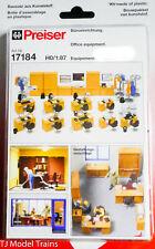 Preiser HO #17184 Office Equipment, Desks, Chairs,Coat racks,(Plastic) Unpainted