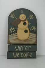 Wooded Christmas Snowman Plaque Sign Winter Welcome
