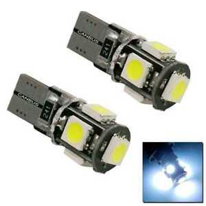 2 Bombillas Coche T10 W5W con 5 LEDS Recambio Luz Posición Matrícula Interior