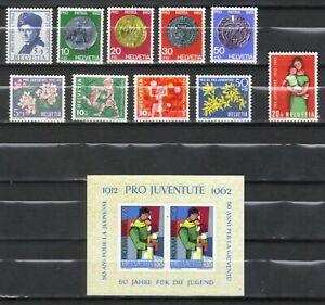 Suiza, año 1962, 2 series y 1 bloque completo en nuevo **/MNH