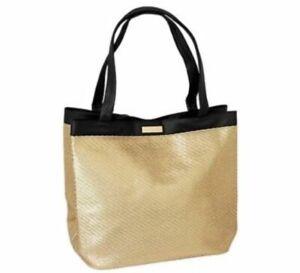 VERSACE PARFUMS Golden gold Black Large Tote Travel Handbag dust bag Braided NEW