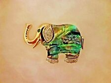 Handcrafted 14k Gold Elephant Pendant with Polished Stones