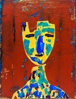 Original surrealism painting, portrait figurative 11X14 canvas contemporary art.