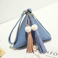 Women PU Leather Tassel Wallet Clutch Triangle Shape Handbag Cute Coin Purse Bag
