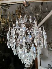 """Antique Vnt French Cage style Crystal Chandelier Lamp 1940's 14in Diameter--"""""""""""""""