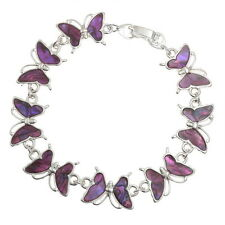 Pink Abalone / Paua Shell Butterfly Chain Silver Bracelet