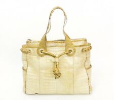 Nancy Gonzales | Beige Crocodile Tote With Snakeskin Trim
