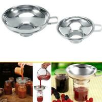 Stainless Steel Funnel Metal Fill Jam Jar Wide Neck Kitchen Tool S/L