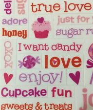 "LOVE CLEAR MYLAR Stickers(3.5""x 11"") Valentine's Day•Sweetie•Sugar•Crush •Hugs••"