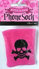 Skull  Crossbones Phone Sock Pretty in Steam PUNK Black Hot Pink Party Favor NIP