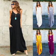 Plain Women Loose Sleeveless V Neck Loose Baggy Pockets Beach Holiday Maxi Dress