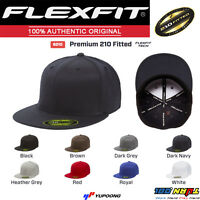 6210 New Flexfit Yupoong Premium Flatbill Baseball Cap 210 Flat Bill Black Hat