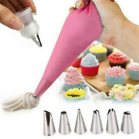 24PC Nozzle Silicone Icing Piping Cream Pastry Bag Kit Cake Decor Baking Tool ❤