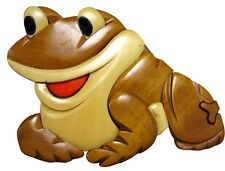 World Design Smiling Frog Hand Crafted Carved Wood Puzzle Jewelry / Trinket Box