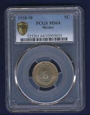 MEXICO ESTADOS UNIDOS 1938 5 CENTAVOS COIN CERTIFIED UNCIRCULATED PCGS MS-64
