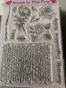 Pink Frog Crafts Stamp Set A5 ~ Rose ~ 13 Stamps ~ Flower & Sentiments