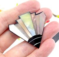 Vintage Large Shell Inlay Clip On Earrings - Triangle