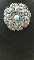 1950s flower with faux turquoise Detail statement brooch Pendant