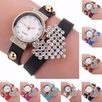 Hot Fashion Women Bracelet Bangle Leather Crystal Dial Quartz Analog Wrist Watch