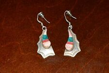 VINTAGE STERLING SILVER ARTISAN HANDCRAFTED EARRINGS WITH STONES