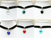 Women Lady Girls Heart Love Choker Collar Fashion Coloured Punk Rock Necklace