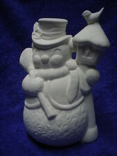 """E115 - 7.5"""" Ceramic Bisque Snowman By Lamp Post Holding Broom -Ready to Paint"""