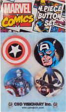 Buttons - Captain America Marvel Comic Hero Pin Badge Pack Gift SET OF 4 #88022
