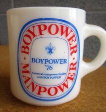 BSA coffee mug Toledo Area Council fleur-de-lis Boy Power white glass 1960s
