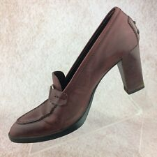 Tod's Wm's Size 8 Burgundy Leather Loafer Pump Heels - Driving Style w Horsebit
