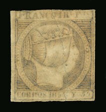 "Spanish PHILIPPINES 1854 Isabella II 1r sl blue ""CORROS"" ERROR Scott # 4d  RARE"
