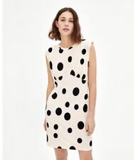 6defdaf80c Zara FW18 Black White Combined Polka Dot Dress With Shoulder Pad Size S NWT