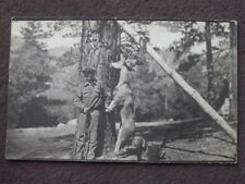 YOUNG MAN HOLDING RIFLE WITH HIS DOG & BUCK  HE SHOT 1910's REAL PHOTO POSTCARD